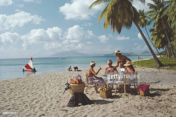 A lobster lunch on the beach on Nevis in the Caribbean March 1984