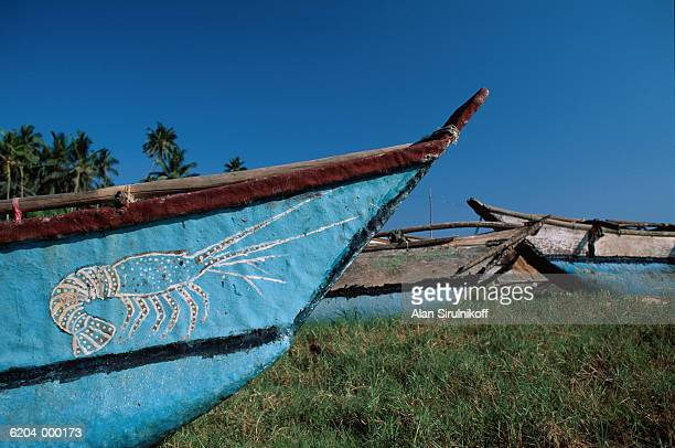 lobster painting on boat - sirulnikoff stock pictures, royalty-free photos & images