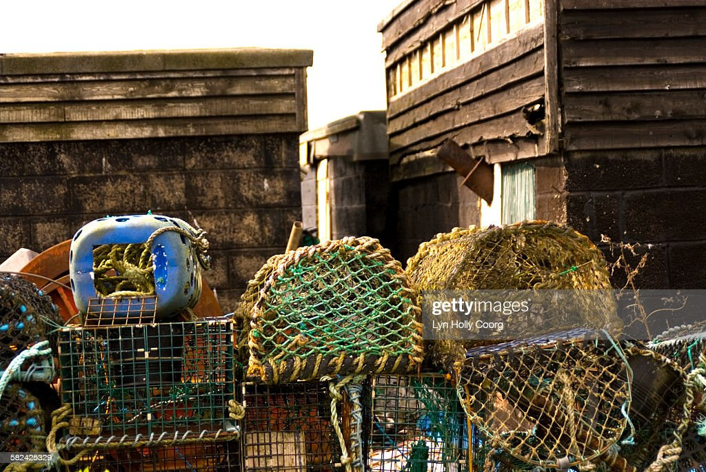 Lobster pots and old shacks : Stock Photo