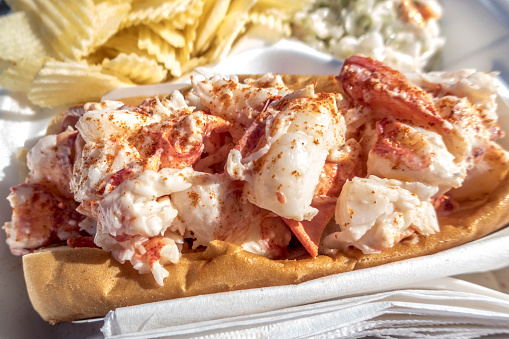 Lobster Roll in Maine with Potato Chips and Coleslaw Close-up 492152362
