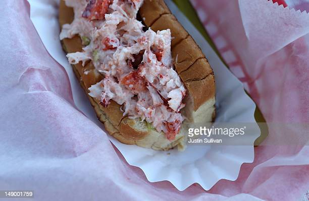 A lobster roll is seen at Benny's Famous Fried Clams on July 21 2012 in Portland Maine A mild winter and warmer than usual spring caused lobsters to...