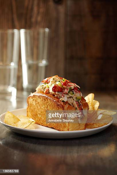 Lobster Roll Sandwich with Potato Chips