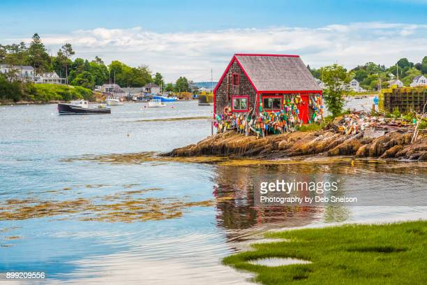 lobster shack in mackerel cove maine - lobster fishing stock photos and pictures