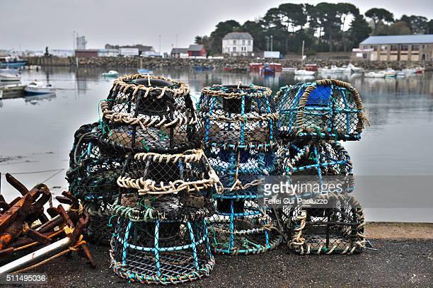Lobster trap at Pier of Loguivy-de-la-mer Côtes-d'Armor department Brittany region France
