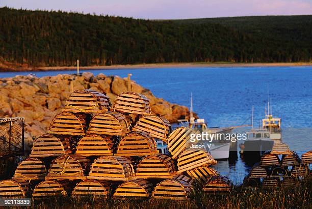 lobster traps - cape breton island stock pictures, royalty-free photos & images