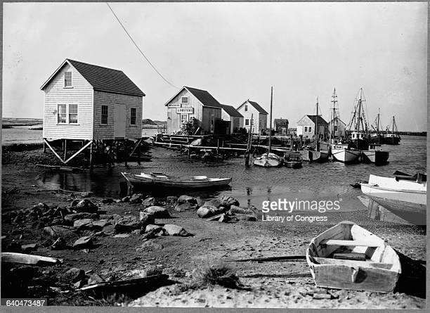 Lobstermen's shacks line the coast at Vineyard Haven on Martha's Vineyard Massachusetts