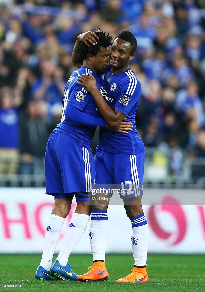Loc Remy (L) of Chelsea celebrates with John Obi Mikel (R) after scoring a goal during the international friendly match between Sydney FC and Chelsea FC at ANZ Stadium on June 2, 2015 in Sydney, Australia.