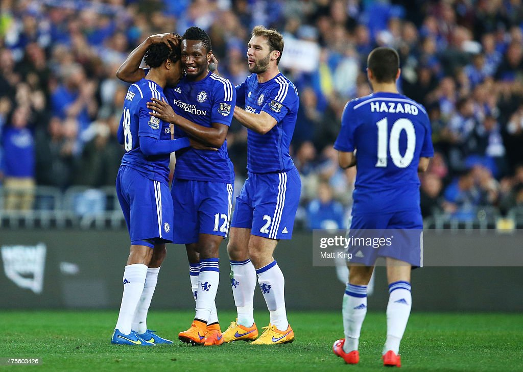 Loc Remy (L) of Chelsea celebrates with team mates after scoring a goal during the international friendly match between Sydney FC and Chelsea FC at ANZ Stadium on June 2, 2015 in Sydney, Australia.