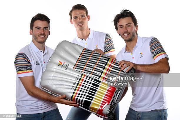 Loïc Van Doren, Belgian hockey player Felix Denayer and Belgian hockey player Arthur Van Doren pictured during a photoshoot for the Belgian Olympic...