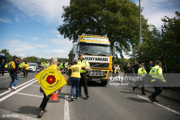 13 local activists locked themselves in specially made arm tubes to block the entrance to Quadrilla's drill site in New Preston Road July 03 2017...