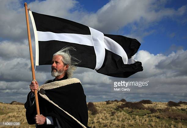 Local actor Colin Retallick plays the role of St Piran during the annual processional play to celebrate St Piran patron saint of tinners and regarded...