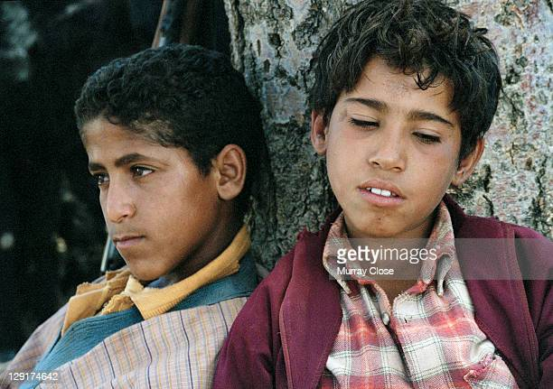 Local actors Boubker Ait El Caid and Said Tarchani as Moroccan goatherds during the filming of 'Babel' on location in Morocco 2005 The film was...