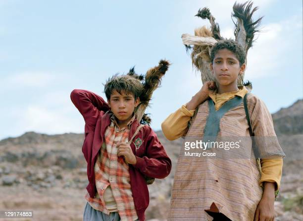 Local actors Boubker Ait El Caid and Said Tarchani as Moroccan goatherds, during the filming of 'Babel' on location in Morocco, 2005. The film was...