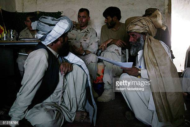 Local Afghan elders from the Suleiman Khel tribe gather in the village of Wazakhwa in south eastern Paktika Province Afghanistan September 11 2004...