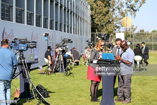 Local and foreigner press members are seen on their duty at G20 Turkey Summit Compound during G20 Turkey Leaders Summit on November 16, 2015 in...