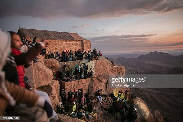 Local and international tourists are on their way to St Catherine's Monastery which has UNESCO 'world heritage' site status early on January 1 2015...