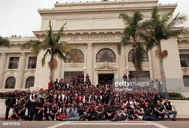 Local and visiting members of the Hells Angels outside Ventura City Hall for a group photo