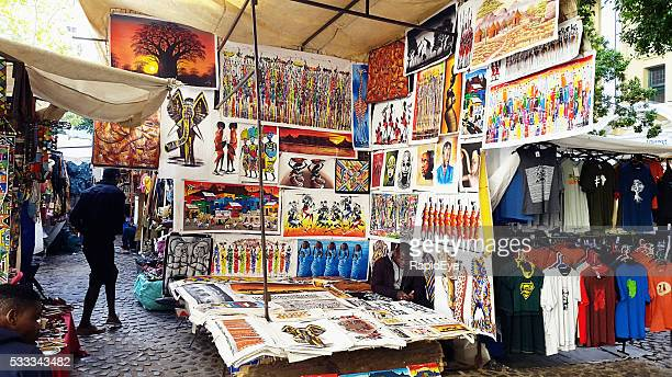 local art on display in cape town's greenmarket square - painting art product stock pictures, royalty-free photos & images