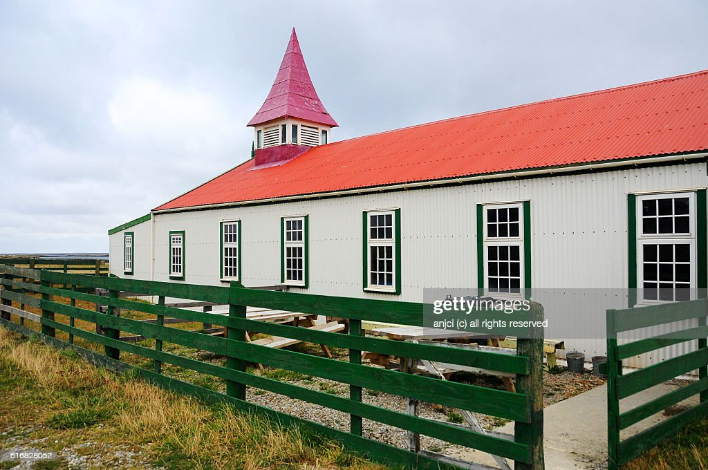 Local assembly hall, Goose Green, East Falkland / Falkland Islands : Stock Photo