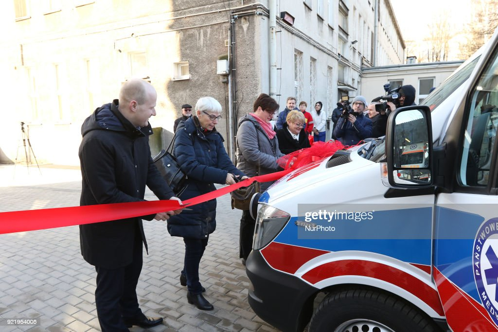 Local authorities cutting the ribbon are seen in Gdynia, Poland on 21 February 2018 New Mercedes Sprinter ambulance costed over 100.000 Euro, and is 18th ambulance in the Gdynia Emergency Medical Services fleet.