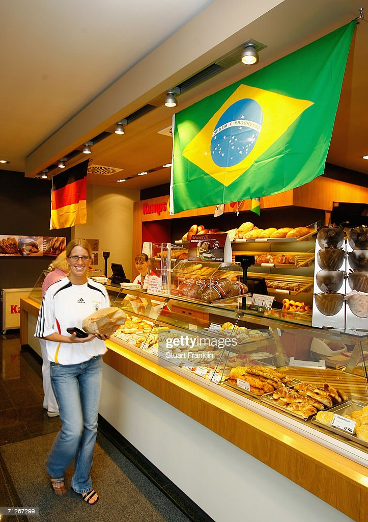 A local bakery displays the flags from germany and Brazil before the Brazil National Football Team training session for the FIFA World Cup Germany 2006 at the Paffrather Street Stadium on June 20, 2006 in Bergisch Gladbach, Germany.