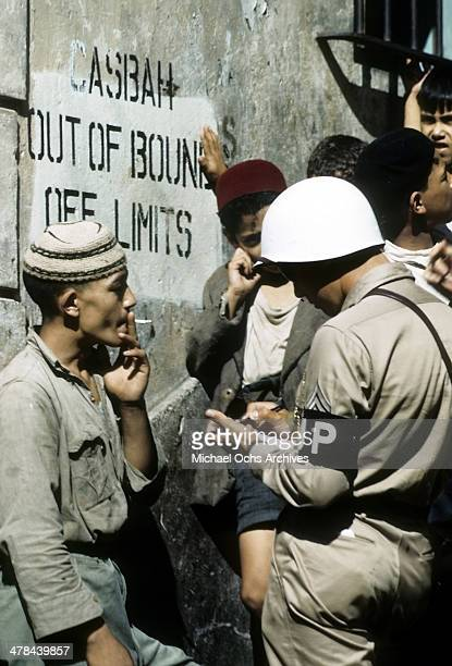 A local boy hangsout in the Casbah of Algiers Algeria Off limits to US servicemen and patrolled by Military Police French and Algerian Police