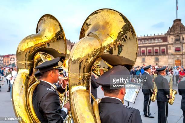 A local brass band entertaining people in the Zócalo or Plaza de la Constitución in Mexico City on January 17 2019 in Mexico CityMexico