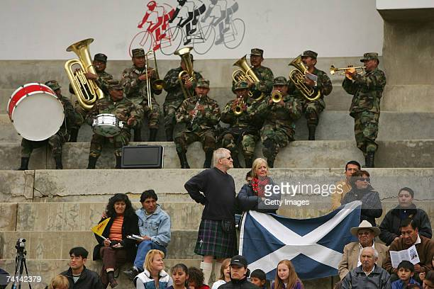 A local brass band entertains the crowd before Chris Hoy's failed attempt to break the World 1 Kilometre Altitude Record at the Alto Irpavi Velodrome...