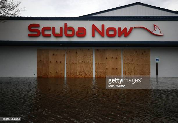 A local business is flooded on September 16 2018 in Wilmington North Carolina Hurricane Florence hit Wilmington as a category 1 storm causing...