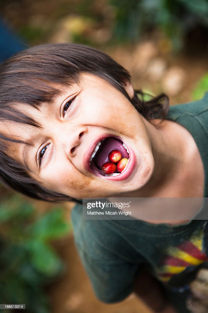 A local child playing in the coffee fields : Foto de stock