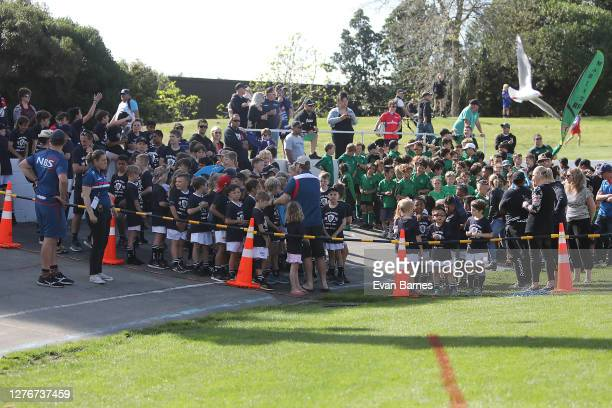 Local children line up ready to march at halftime during the round 3 Mitre 10 Cup match between Tasman and Waikato at Trafalgar Park on September 26...