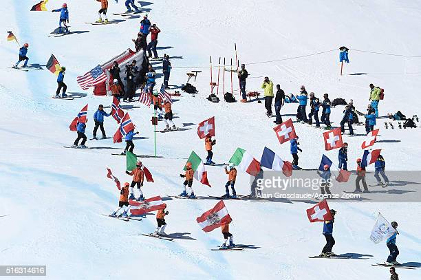 Local children participate in during the Audi FIS Alpine Ski World Cup Finals Men's and Women's Team Event on March 18 2016 in St Moritz Switzerland