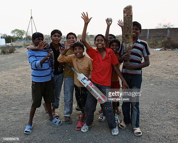 Local children play cricket on February 24 2011 in Nagpur India
