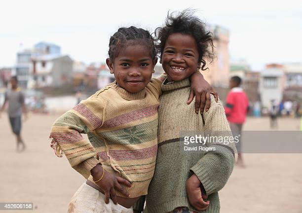 Local children pose in Antananarivo the capital city of Madagascar on July 21 2014 in Antananarivo Madagascar