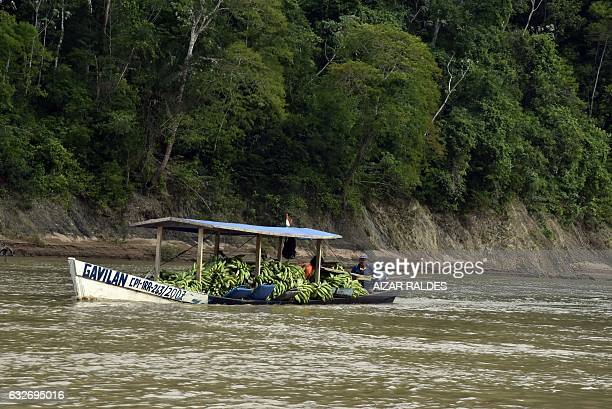 Local Chiman indigenous people transport their goods along the Bala Gorge on the Beni River near the town of Rurrenabaque to the north of La Paz...