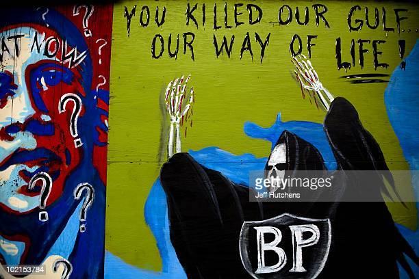 Local communities express their frustration through murals in the area near the Deepwater Horizon disaster and the British Petroleum oil spill off...