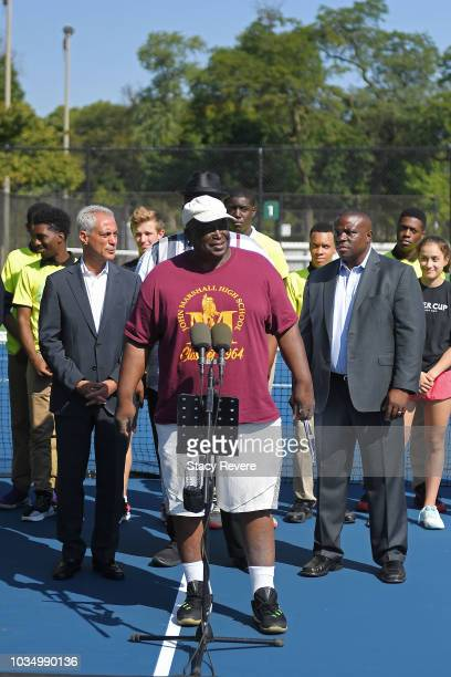 Local community member Freddie Chapman speaks to local students and community members during the Laver Cup Legacy Court Ceremony at Garfield Park on...