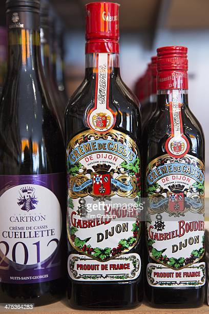 Local Creme de Cassis a regional speciality for sale in La Fabrique Bouchons in old town Dijon in Burgundy region France