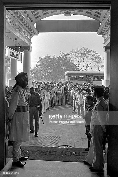 Local crowds outside the Grand Hotel waiting for the England team to board their bus 2nd Test India v England Calcutta January 197677