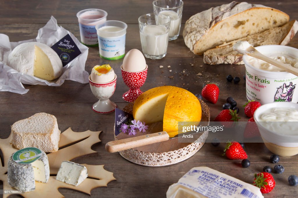 Local dairy products from the Hauts-de-France region. : News Photo