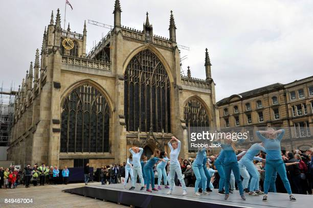 Local dancers perform 'Take Flight in front of the recently designated Hull Minster on September 16 2017 in Hull England
