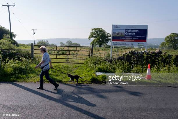 Local dog walker passes an idyllic landscape of green fields and farmland that will soon change forever when it will be built upon by housing...