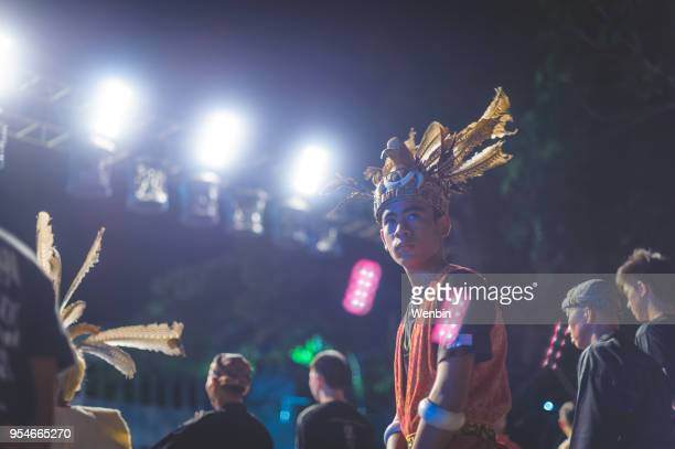 local ethnic performance team in kuching - sarawak state stock pictures, royalty-free photos & images