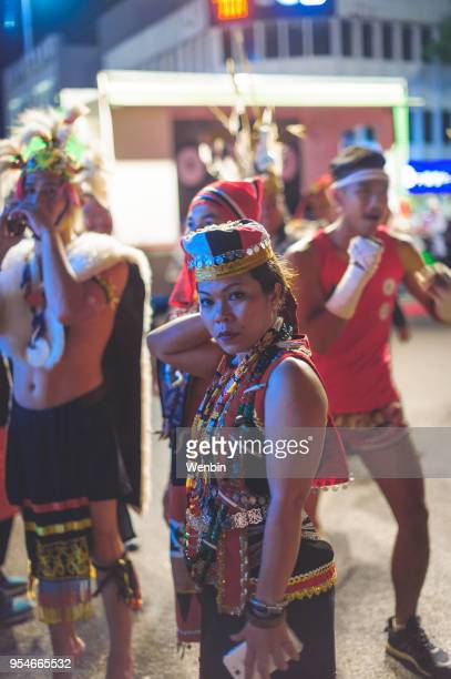 local ethnic performance team in kuching - gawai dayak stock pictures, royalty-free photos & images