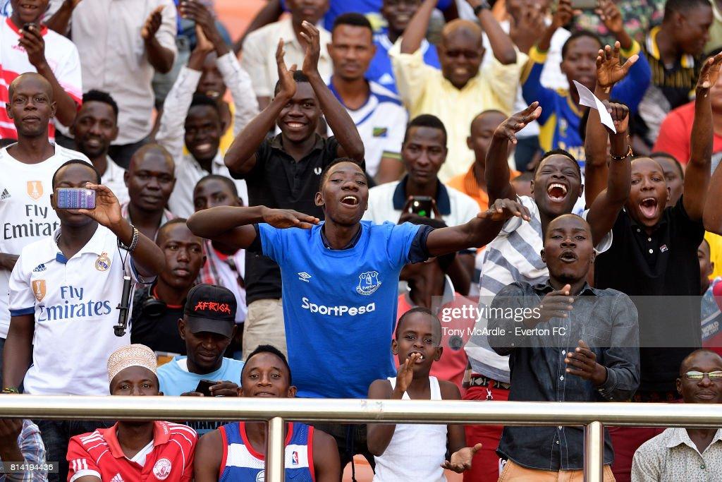 A local Everton fan before the pre-season match between Everton and Gor Mahia in Dar-Es-Salaam on July 12, 2017 in Tanzania.