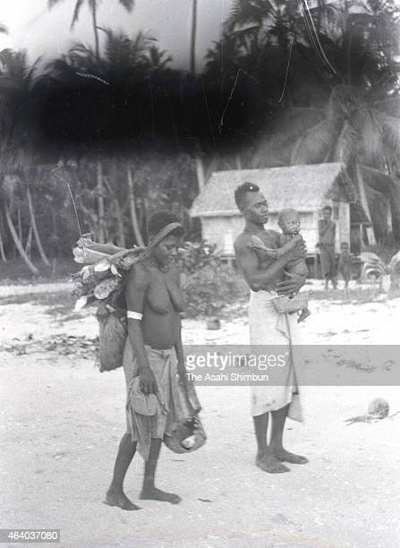 A local family is seen circa June 1942 in Kavieng New Ireland Island Papua New Guinea Imperial Japan invaded the island of Papua New Guinea in...