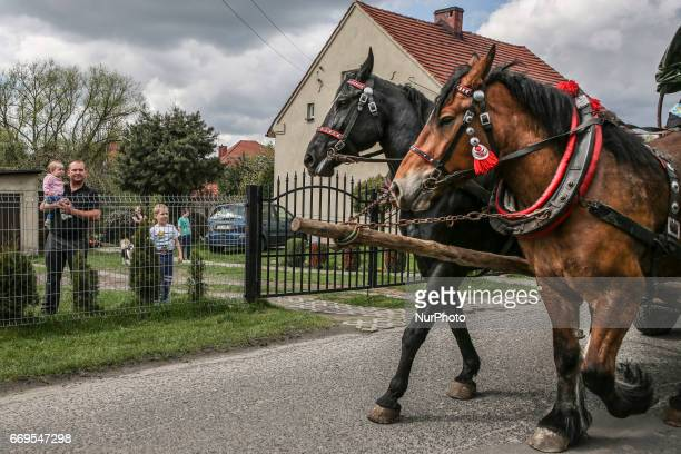 A local family watches the traditional horse riding procession on Easter Monday in Zernica village near Gliwice Poland 17 April 2017 During the...