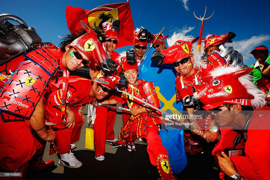 Local Ferrari fans attend qualifying for the Japanese Formula One Grand Prix at Suzuka Circuit on October 10, 2010 in Suzuka, Japan.