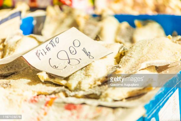 local fish in the market of cefalù, palermo province, sicily, italy - giacomo palermo stock pictures, royalty-free photos & images