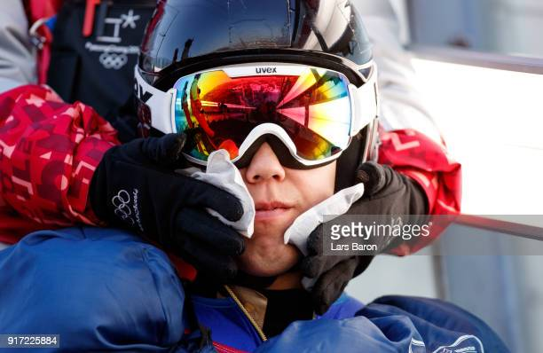 Local forerunner gets warmed during the Nordic Combined Individual Gundersen NH/10km official training on February 12, 2018 in Pyeongchang-gun, South...